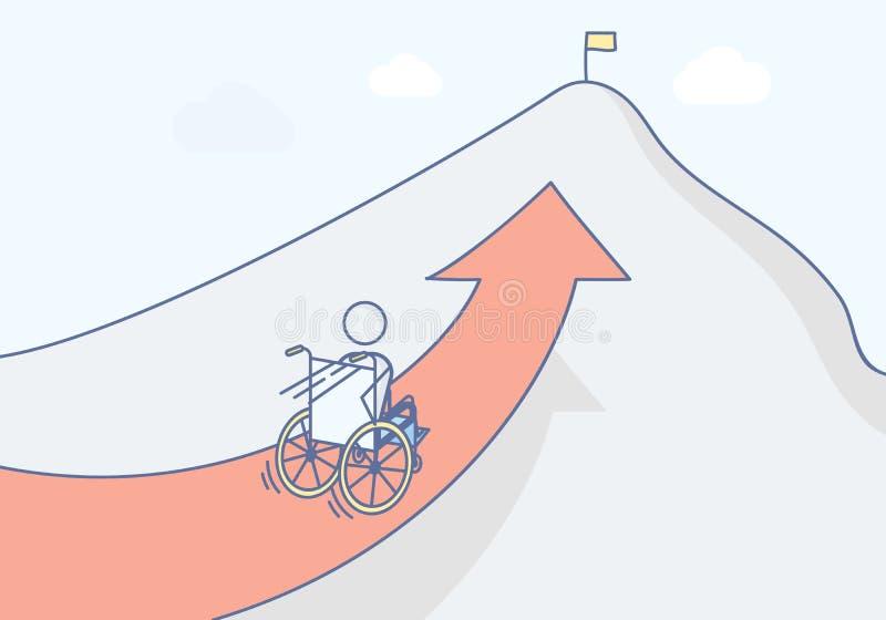 有他的赛跑在山的上面的轮椅的截瘫患者 库存例证
