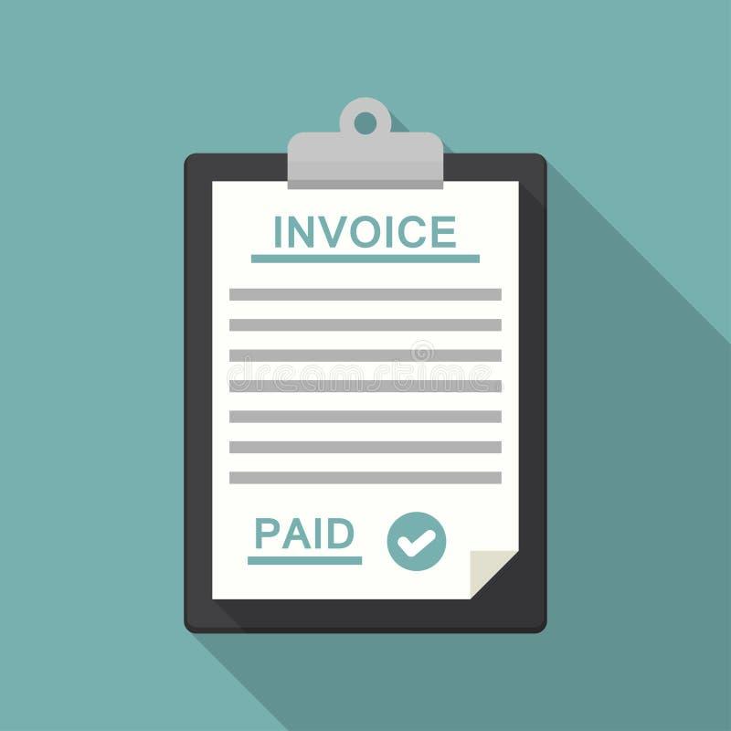 有付款和票据发货票的剪贴板在一个平的设计 库存例证