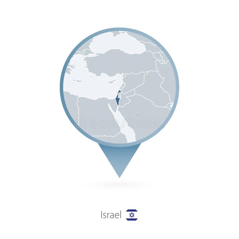 有以色列和邻国详细的地图的地图别针  向量例证