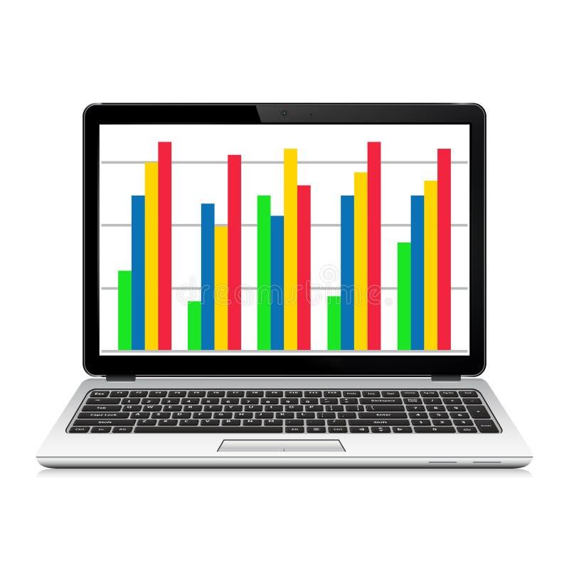 有企业图表的便携式计算机在屏幕上 库存例证