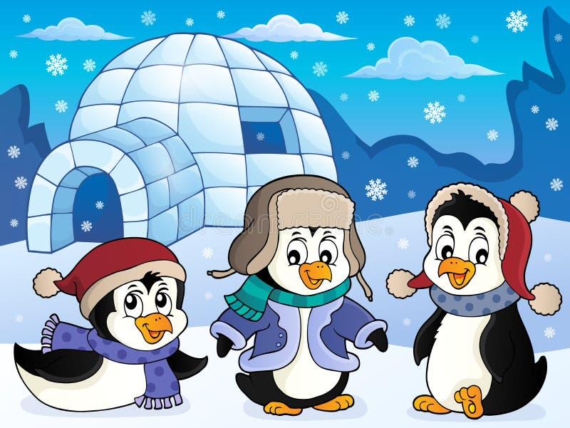 有企鹅题材的4园屋顶的小屋 库存例证