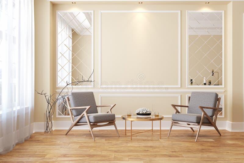 有休息室扶手椅子的经典米黄现代内部空的室 皇族释放例证