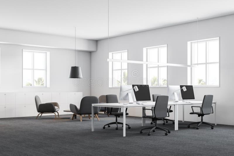 有休息室的白色办公室工作场所 向量例证
