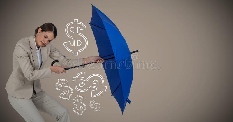 有会集金钱图表的伞的女商人反对棕色背景 向量例证