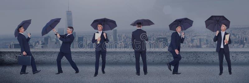 有伞拼贴画的商人反对城市背景 向量例证
