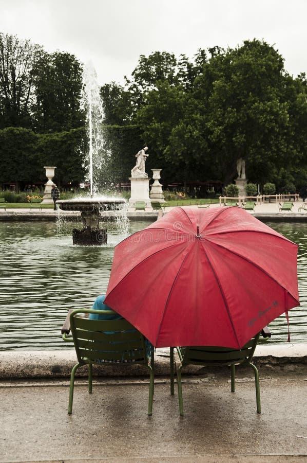 有伞的人们在tuilerie的雨天之前从事园艺 免版税库存照片