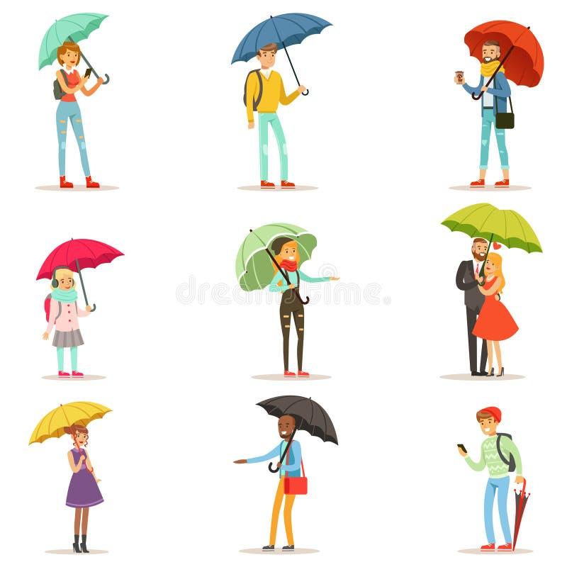 有伞的人们 走在伞五颜六色的字符下的微笑的男人和妇女导航被隔绝的例证  库存例证