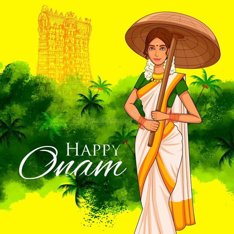有伞的南印地安人Keralite妇女庆祝Onam的 库存例证