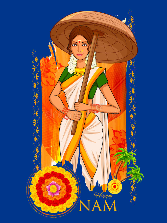 有伞的南印地安人Keralite妇女庆祝Onam的 皇族释放例证