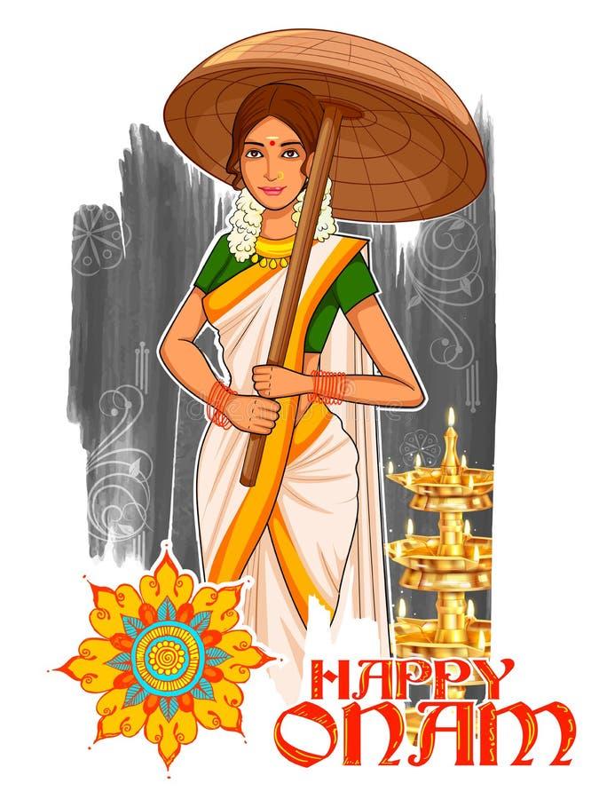 有伞的南印地安人Keralite妇女庆祝Onam的 向量例证