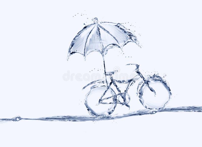 有伞的大海自行车 库存照片