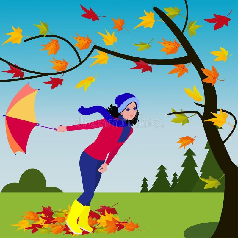 有伞的女孩在秋天树附近的刮风的天气在森林背景 库存例证