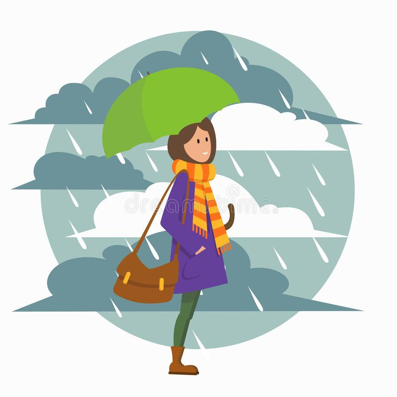 有伞的女孩 向量例证
