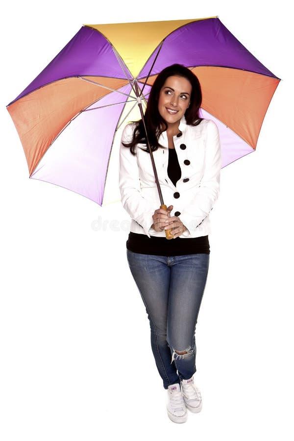 有伞的妇女。 图库摄影
