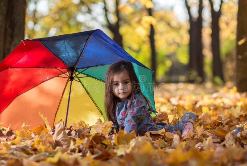 有伞的小女孩在公园 库存图片
