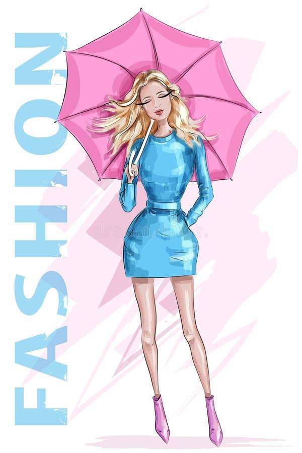 有伞的时尚俏丽的妇女 有金发的时髦的女孩 草图 塑造女孩 向量例证