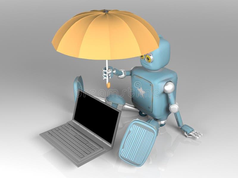 有伞的机器人保护膝上型计算机 3d?? 库存例证