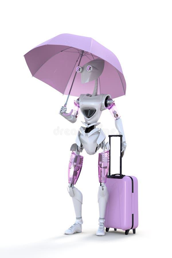 有伞的机器人 向量例证