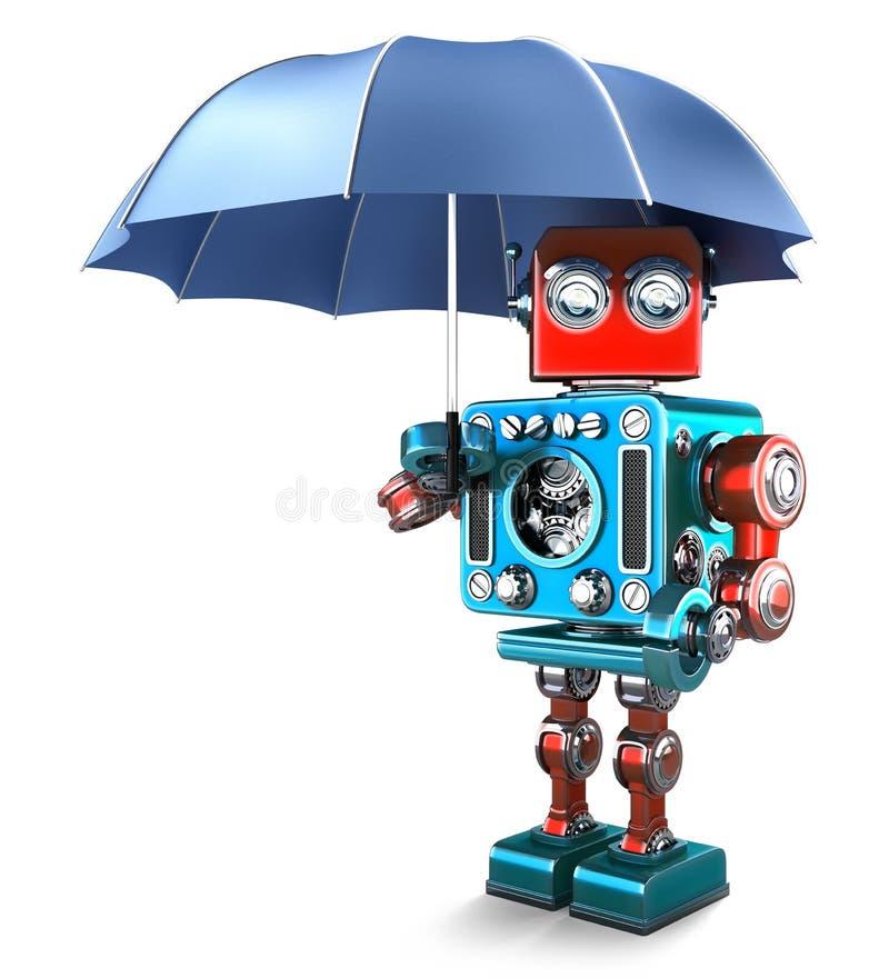 有伞的葡萄酒机器人 包含裁减路线 库存例证