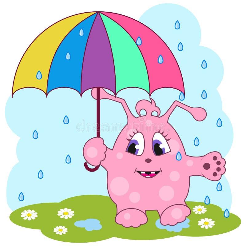 有伞的逗人喜爱的桃红色妖怪 向量例证