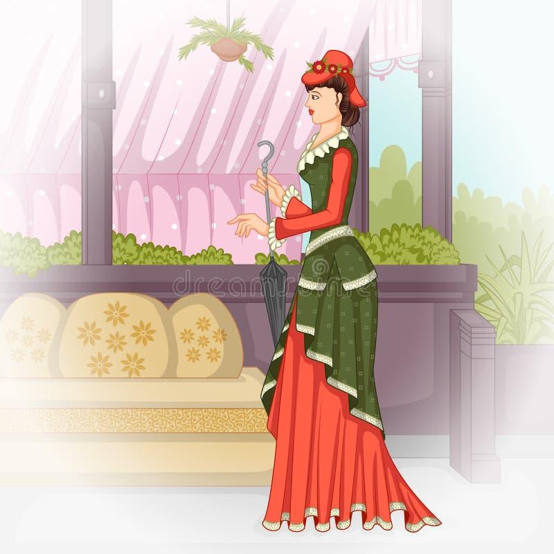 有伞的维多利亚女王时代的妇女 库存例证