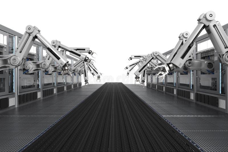 有传动机线的机器人机器 免版税库存照片