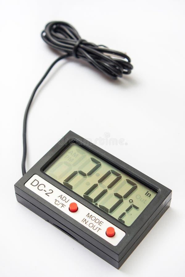 有传感器的数字体温计在缆绳 免版税库存照片
