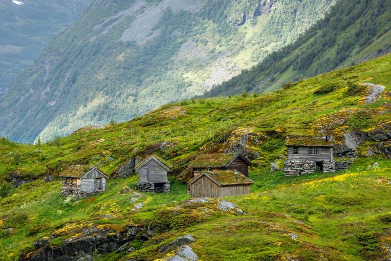 有传统草皮屋顶房子的挪威山村,Geiranger,Sunnmore地区,更多og Romsdal县,挪威 库存照片