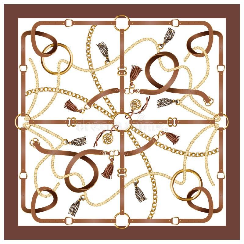 有传送带、链子和辫子的设计围巾织品的 向量 皇族释放例证