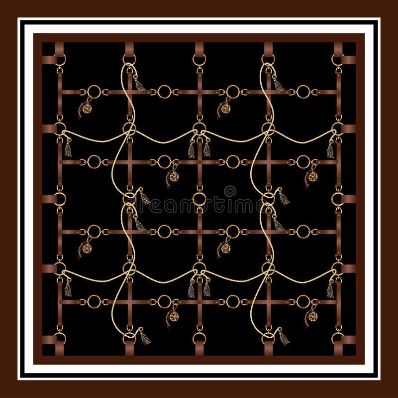 有传送带、链子和辫子的设计围巾织品的 向量 向量例证