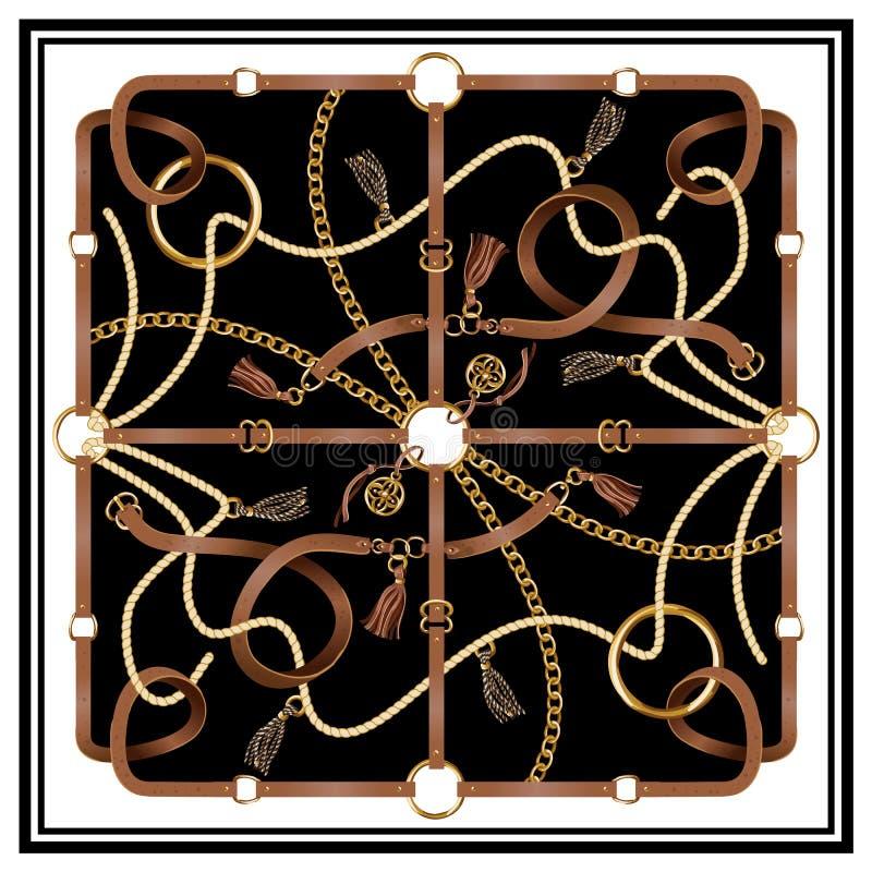 有传送带、链子和辫子的设计围巾织品的 向量 库存例证