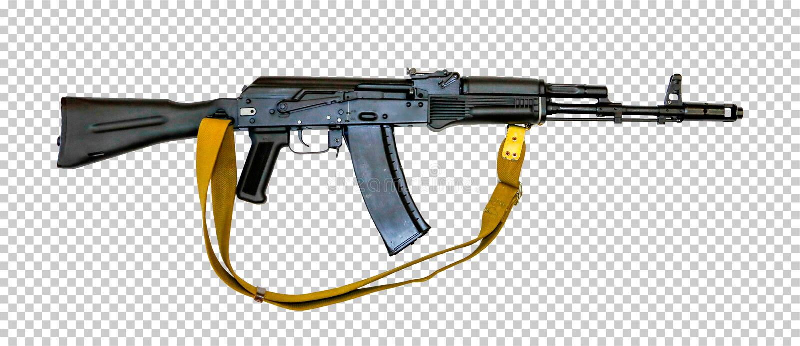 有传送带的卡拉什尼科夫AK-74M,透明背景,png, 免版税库存照片