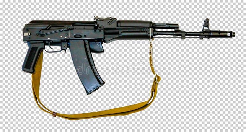 有传送带的卡拉什尼科夫AK-74M,透明背景,png, 免版税库存图片