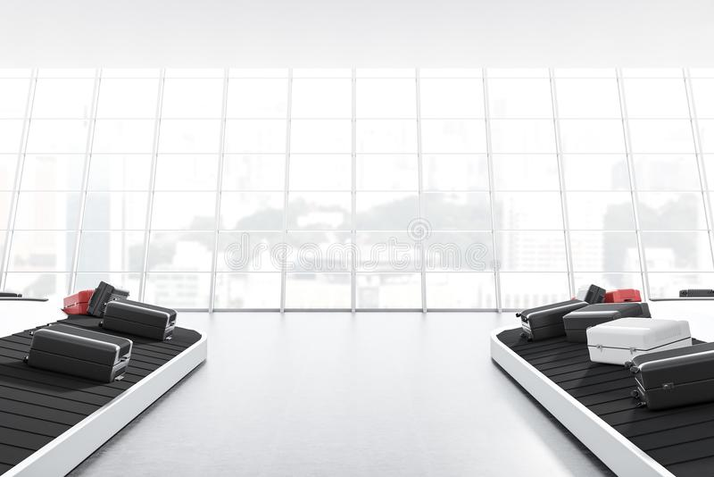 有传送带的大窗口机场 皇族释放例证