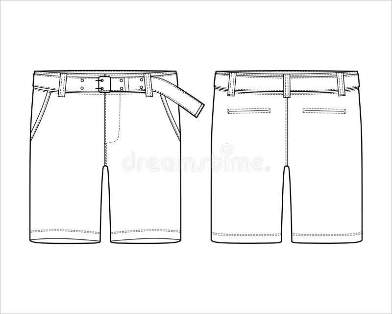 有传送带设计模板的技术剪影短裤 皇族释放例证