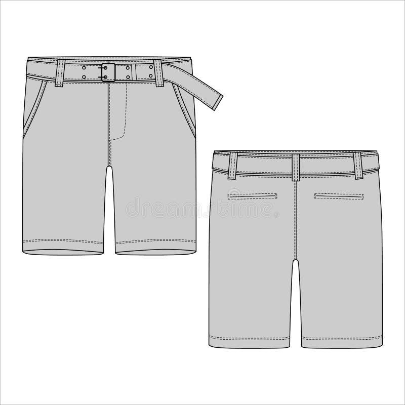 有传送带设计模板的技术剪影短裤 库存例证
