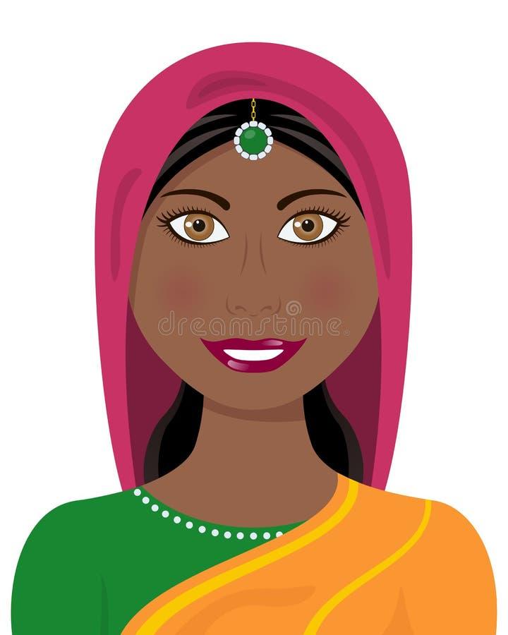 有传统礼服的蓬松卷发印地安妇女 库存例证