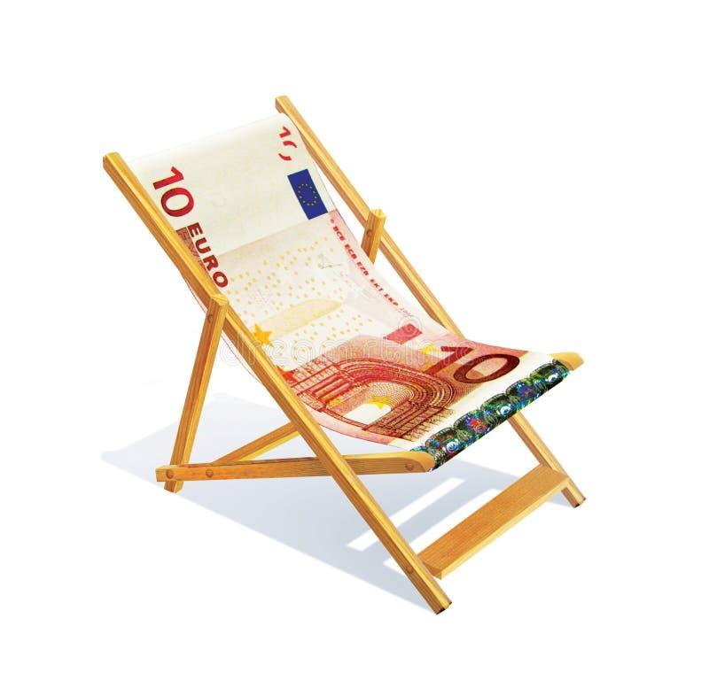 有位子和后面的木躺椅从10欧元的衡量单位 夏天休息旅途 信函 向量例证
