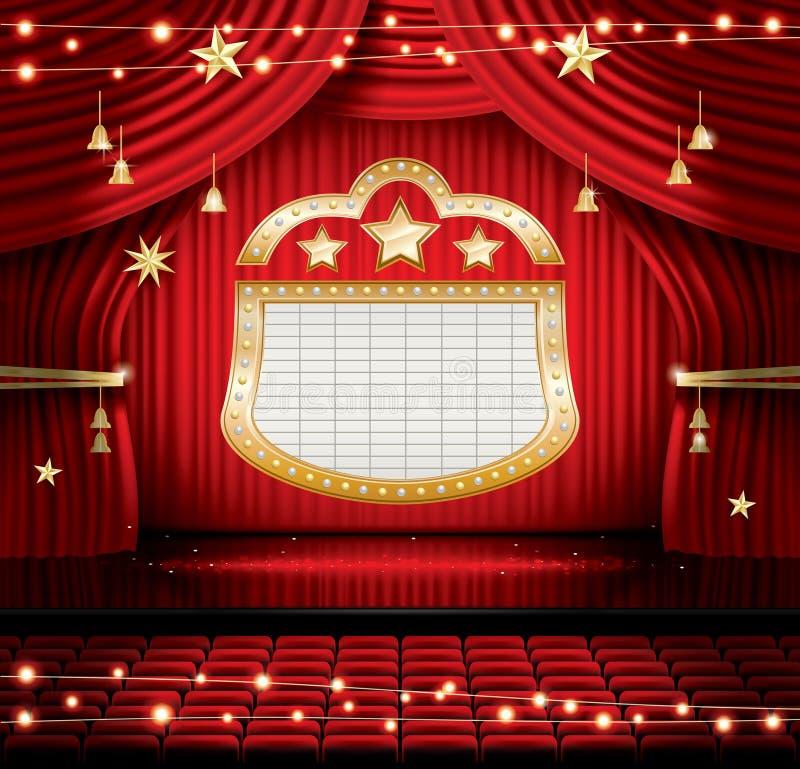 有位子和聚光灯的红色阶段帷幕 库存例证