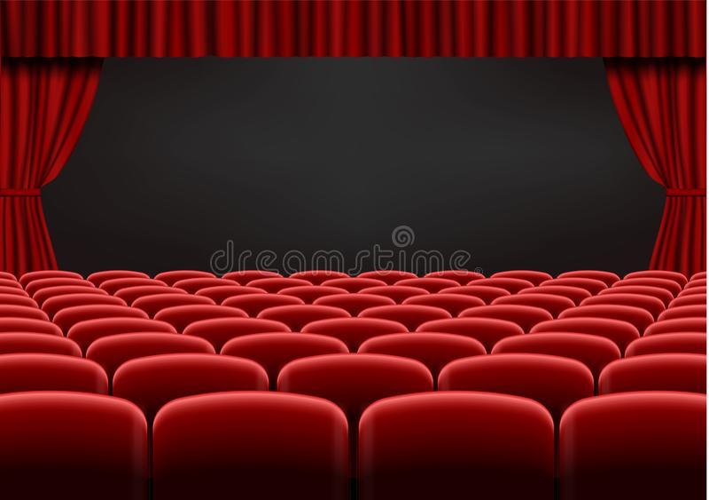 有位子的红色开放帷幕在剧院 天鹅绒织品戏院帷幕传染媒介 被打开的帷幕和海 皇族释放例证