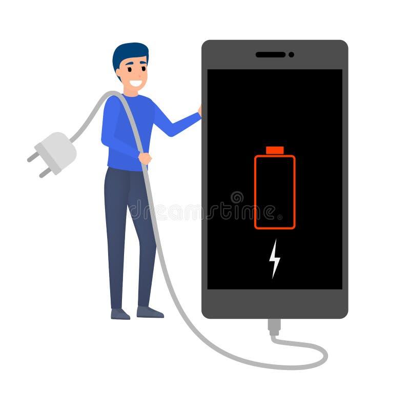 有低电池显示的智能手机 电话需要充电 向量例证