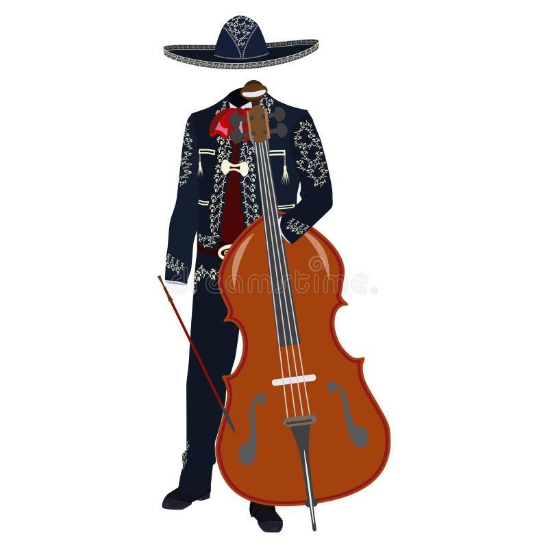 有低音提琴传染媒介例证的墨西哥流浪乐队音乐家 向量例证
