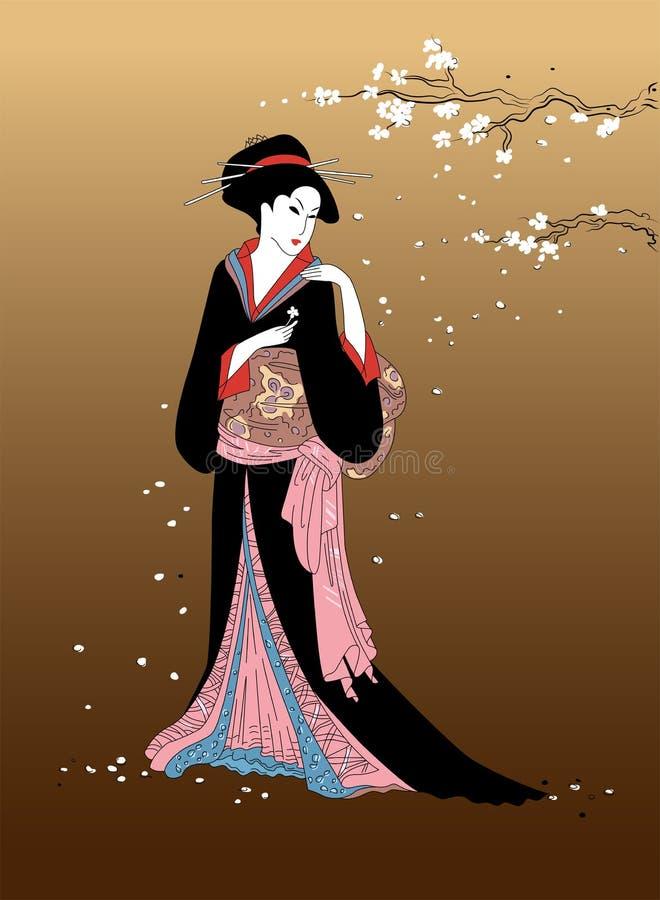 有佐仓开花分支的艺妓女孩在背景 在全国礼服的美好的东瀛女人 传统亚洲人des的元素 向量例证