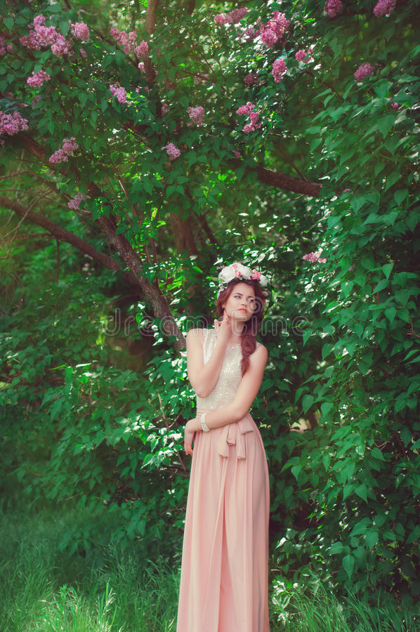 有佩带花圈的长的头发的美丽的女孩 免版税图库摄影