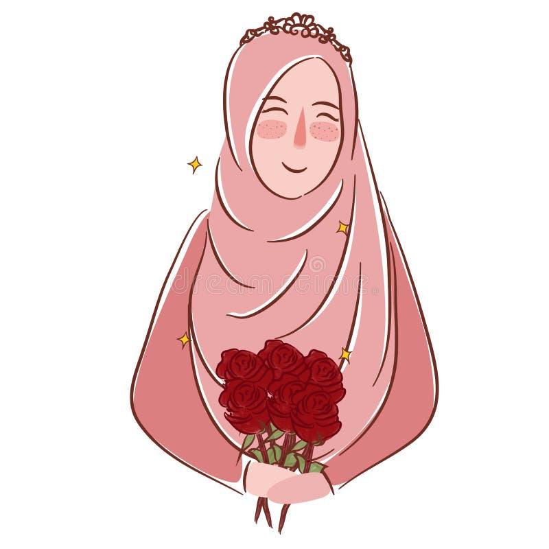 有佩带面纱伊斯兰教的婚姻例证图画的玫瑰的回教女孩 皇族释放例证