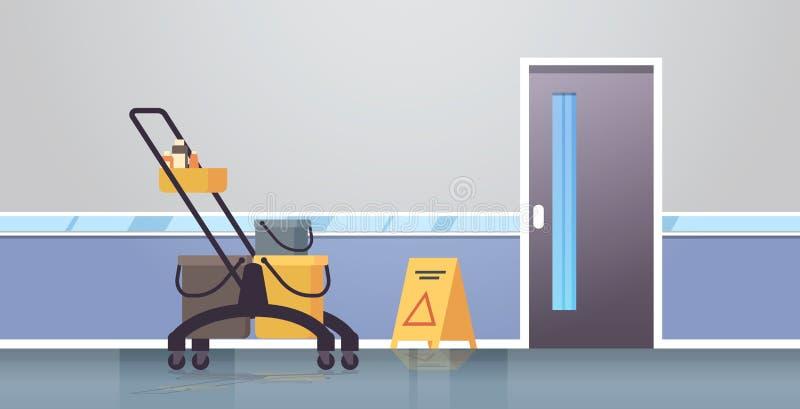 有供应的清洗的服务台车推车警告湿地板标志管理员公司概念现代走廊内部舱内甲板 库存例证