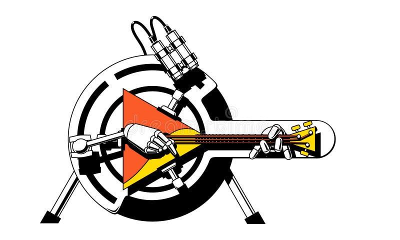 有俄式三弦琴的一个机器人 库存例证