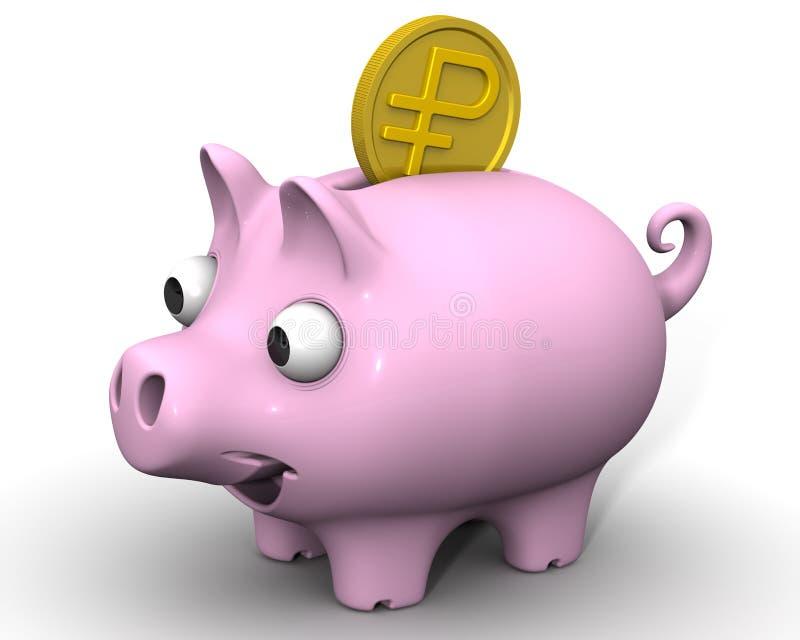 有俄罗斯卢布硬币的猪存钱罐 皇族释放例证
