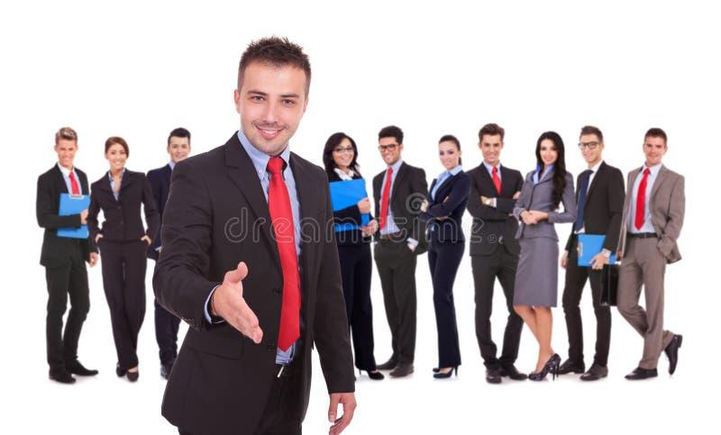 有信号交换小组姿态infron的商人  免版税库存图片