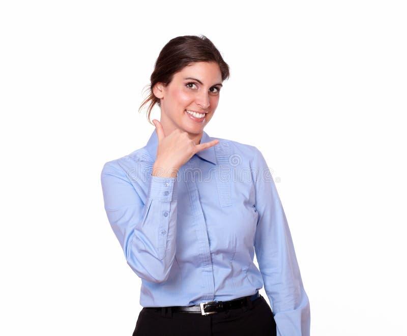 有信号呼号的逗人喜爱的小姐 免版税图库摄影